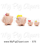 September 27th, 2015: Swine Clipart of a 3d Piggy Bank Family Facing Left by