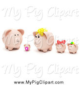 Swine Clipart of a 3d Piggy Bank Family with Bows by