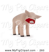 Swine Clipart of a 3d Piglet Wearing a Red Medical Mask over His Snout, Symbolizing H1N1 by Mopic