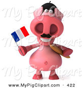 Swine Clipart of a 3d Pink Pig Character Holding a French Flag and Carrying Bread by Julos