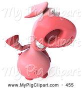 Swine Clipart of a 3d Pink Pig Character Smiling and Waving by Julos