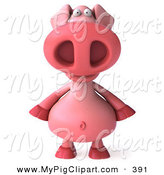 May 18th, 2013: Swine Clipart of a 3d Pink Pig Character Standing and Facing Front on White by Julos