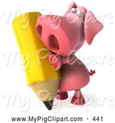 Swine Clipart of a 3d Pink Pig Character with a Giant Pencil by Julos