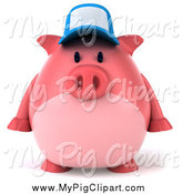 Swine Clipart of a 3d Pink Pig Wearing a Hat and Facing Front by Julos