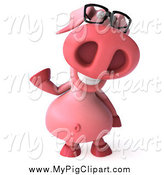 Swine Clipart of a 3d Pink Pig Wearing Glasses and Waving by Julos