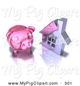 Swine Clipart of a 3d Pink Piggy Bank by a Silver Home by Julos