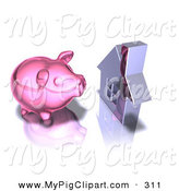 Swine Clipart of a 3d Pink Piggy Bank by a Silver Home on a Reflective Surface by Julos