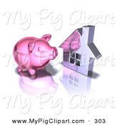 Swine Clipart of a 3d Pink Piggy Bank by a Silver Home on White by Julos