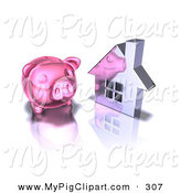 Swine Clipart of a 3d Pink Piggy Bank by a Silver Home over White by Julos