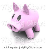 Swine Clipart of a 3d Pink Piggy Bank with a Big Pink Snout and Black Eyes by KJ Pargeter