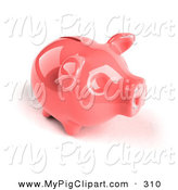 Swine Clipart of a 3d Pink Shiny Piggy Bank and Looking Right by Julos