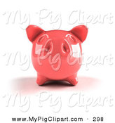Swine Clipart of a 3d Pink Shiny Piggy Bank Looking Ahead by Julos
