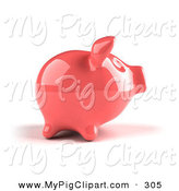 Swine Clipart of a 3d Pink Shiny Piggy Bank Looking Right by Julos