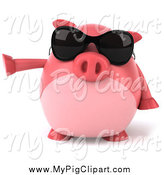 Swine Clipart of a 3d Pointing Chubby Pig Wearing Shades by Julos