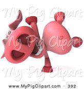 Swine Clipart of a 3d Pookie Pig Character Comically Drawn Doing a Hand Stand by Julos