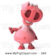 Swine Clipart of a 3d Pookie Pig Character Facing Front and Gesturing Left on White by Julos