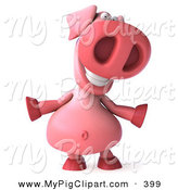 May 26th, 2013: Swine Clipart of a 3d Pookie Pig Character Facing Front and Smiling and Dancing by Julos