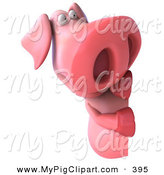 May 22nd, 2013: Swine Clipart of a 3d Pookie Pig Character Peeking Around a Corner by Julos