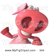 May 21st, 2013: Swine Clipart of a 3d Pookie Pig Character Smiling and Waving at the Viewer While Holding a Blank Sign by Julos