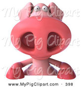 Swine Clipart of a 3d Pookie Pig Character Smiling While Standing over a Blank Sign by Julos