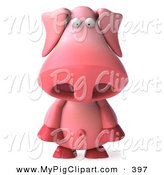 May 24th, 2013: Swine Clipart of a 3d Pookie Pig Character Standing and Facing Front and Pouting by Julos