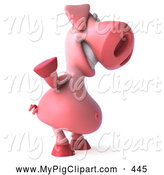 Swine Clipart of a 3d Pookie Pig Character Waving and Facing to the Right by Julos