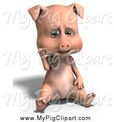 Swine Clipart of a 3d Sad Pig Sitting by Ralf61
