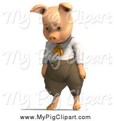 Swine Clipart of a 3d Sad Pig Wearing Clothes by Ralf61