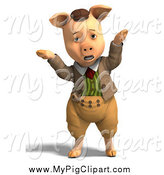 Swine Clipart of a 3d Shrugging Pig in Clothes by Ralf61