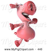 Swine Clipart of a 3d Smiling Pig Character Jumping by Julos