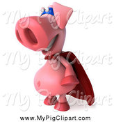 Swine Clipart of a 3d Super Hero Pig Facing Left by Julos
