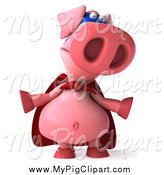 Swine Clipart of a 3d Super Hero Pig Shrugging by Julos