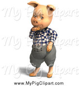 September 11th, 2014: Swine Clipart of a 3d Thinking Pig Wearing Clothes by Ralf61