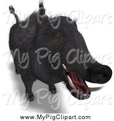 Swine Clipart of a 3d Wild Black Boar by Ralf61