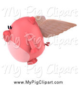 Swine Clipart of a 3d Winged Pig Flying to the Left by Julos
