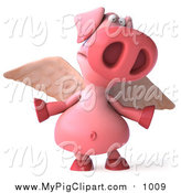 March 16th, 2016: Swine Clipart of a 3d Winged Pig Shrugging by Julos