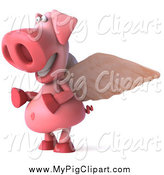 Swine Clipart of a 3d Winged Pig Smiling and Facing Left by Julos