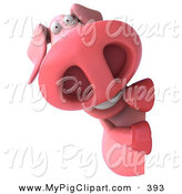 Swine Clipart of a 3d Worried Pookie Pig Character Looking Around a Blank Sign by Julos