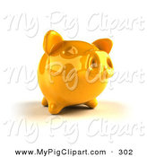 Swine Clipart of a 3d Yellow Shiny Piggy Bank Looking Ahread by Julos