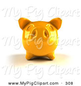 Swine Clipart of a 3d Yellow Shiny Piggy Bank Looking Forward by Julos