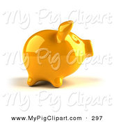 Swine Clipart of a 3d Yellow Shiny Piggy Bank Looking Right by Julos