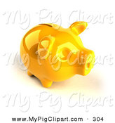 Swine Clipart of a 3d Yellow Shiny Piggy Bank Looking to the Right by Julos