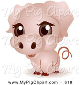 Swine Clipart of a Adorable Big Head Pink Baby Piggy by BNP Design Studio