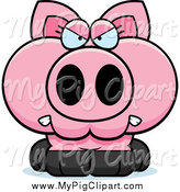 Swine Clipart of a Angry Pink Piglet by Cory Thoman