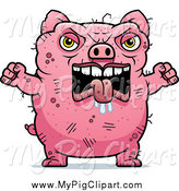 Swine Clipart of a Angry Ugly Pig Holding up Fists by Cory Thoman