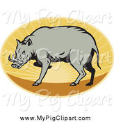 Swine Clipart of a Babirusa Pig Against a Sunset Oval by Patrimonio