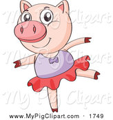 Swine Clipart of a Ballerina Pig Dancing by Graphics RF
