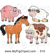 Swine Clipart of a Barnyard Animals; Cute Piggy, Sheep, Horse and Cow by Visekart
