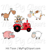 Swine Clipart of a Barnyard Digital Collage of a Caucasian Farmer on a Tractor, with a Horse, Cow, Pig and Sheep by Hit Toon