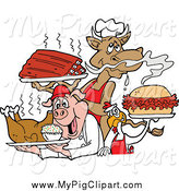 Swine Clipart of a BBQ Cow Holding Ribs, Chicken Carrying a Pulled Pork Sandwich and Pig Carrying a Roasted Chicken by LaffToon
